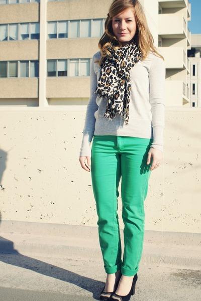 green H&M pants - heather gray JCrew sweater - dark brown Aldo scarf