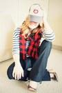 Navy-forever-21-jeans-red-vintage-scarf-silver-aldo-heels