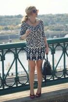 black leopard Forever 21 shirt - black bag - white tribal print Forever 21 skirt
