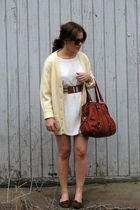 white Unique Thrift Store dress - Forever 21 belt - yellow Unique Thrift Store c