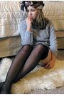 Gray-american-eagle-swimwear-black-victorias-secret-tights-vintage-scarf