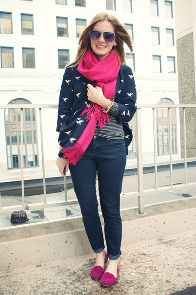 navy Forever 21 blouse - dark gray JCrew shirt - hot pink go jane flats