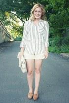 tawny Jeffrey Campbell heels - ivory JCrew shirt - ivory vintage bag