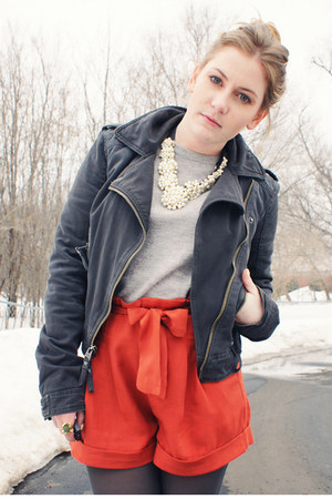 ivory Forever21 necklace - navy abercrombie and fitch jacket