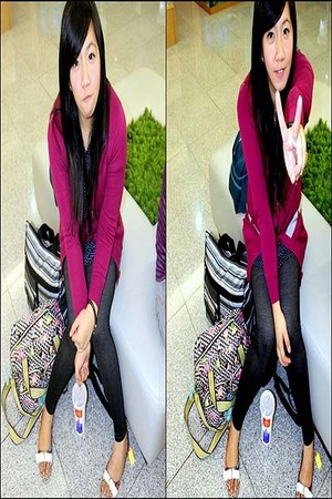 purple Dorothy Perkins cardigan - black People are People leggings - blue H&M to