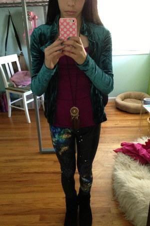 black boots - turquoise blue velvet jacket - navy galaxy leggings