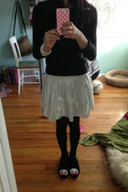 black sweater - black tights - white skirt - black flats