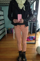 coral polka dots jeans - black leather jacket - eggshell scarf