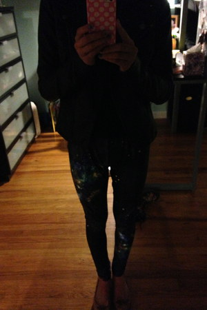 galaxy romwe leggings - leather jacket - Zara flats