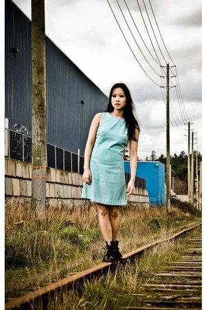 light blue mod dress vintage dress - black Dr Martens boots