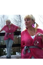 pink H&M cardigan - blue Vero Moda leggings - H&M accessories - gray Deichmann b