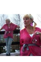 pink H&M cardigan - blue Vero Moda leggings - H&M accessories - gray Deichmann b