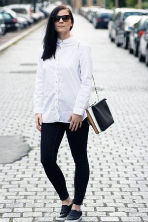 white Zara shirt - black GINA TRICOT jeans - black Zara bag