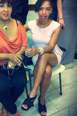 pleplum Zara dress - wedges new look heels - pearls H&M bracelet
