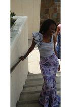 silver Bebe top - custom made skirt