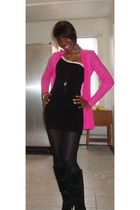 pink HIP from Macys cardigan - black f21 dress - black H&M tights - black Aldo b