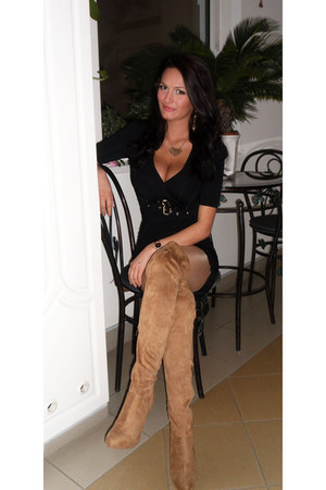 gold Miss Sixty necklace - tan Bershka boots - black Mayo Chix dress