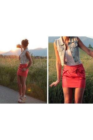 skirt - vest - top - wedges