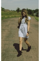 black Minnetonka shoes - blue delias dress