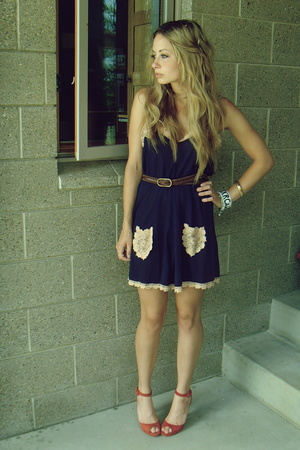 red Replica shoes - blue By Francine dress - brown Urban Outfitters belt