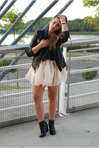 black leather jacket Cubus jacket - ivory tutu Sheinside skirt