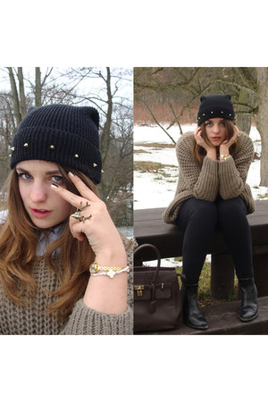 black DIY hat - light blue Burberry shirt - dark khaki woollen Bershka jumper