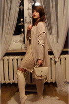 white leather bag bag - cream no name socks - light pink H&M cardigan