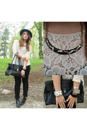 black round H&amp;M hat - cream lace H&amp;M top - black skinny reserved pants