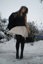 light pink flowy H&M skirt - black jacket - black H&M top