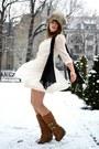 Neutral-vintage-dress-h-m-dress-black-vero-moda-scarf-bronze-wedges