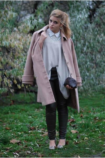 brown Louis Vuitton bag - white asymetric H&M shirt - army green H&M pants