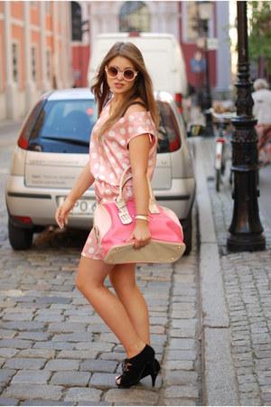 bubble gum tote bag Monnari bag - light pink polka dots New Yorker dress