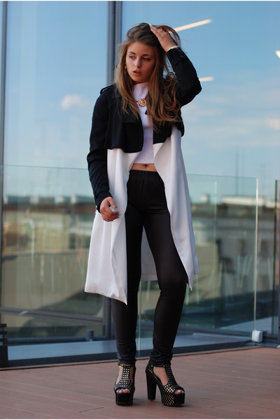 white River Island top - black black and white River Island coat