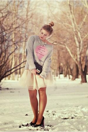 cream tulle skirt romwe skirt - silver cotton Lana Nguyen sweatshirt
