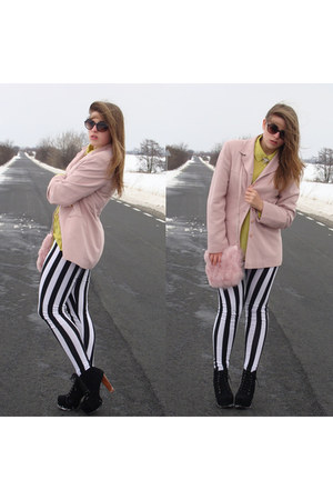 light pink second hand jacket - black striped c&amp;a leggings