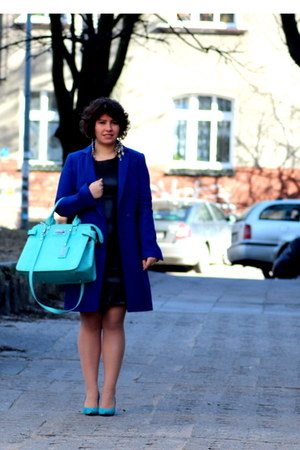 aquamarine Mango pumps - dark brown Mango dress - navy Wallis coat