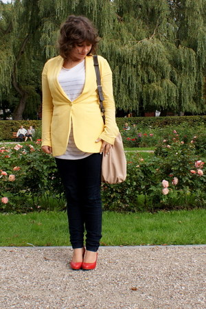 yellow Mango blazer - neutral Zara bag - red Aldo heels