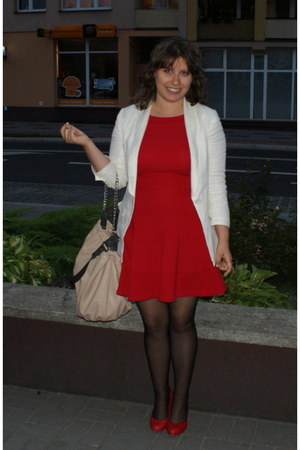 red Zara dress - cream H&M blazer - neutral Zara bag - red Aldo heels