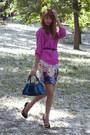 Blue-karen-millen-bag-light-pink-karen-millen-skirt-bubble-gum-zara-top