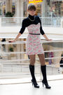 Black-nine-west-shoes-pink-oasis-dress-black-oggy-sweater