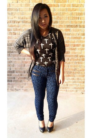 black crop cross Forever 21 top - navy Forever 21 pants