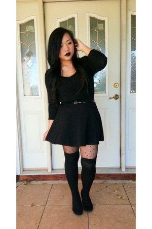 black Forever 21 sweater - black simple skater Jcpenny skirt