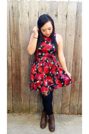 red modcloth dress - brown Forever 21 boots