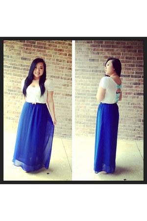 white Charlotte Russe shirt - blue chiffon blue  Forever21 skirt