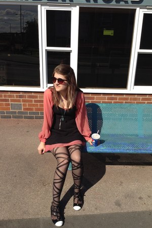 coral thrifted dress - black H&M dress - black Atmosphere tights