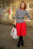 red H&M skirt - white Forever 21 top