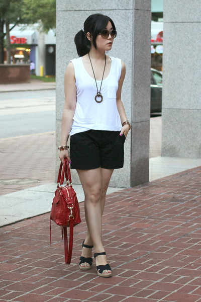 mini mab Rebecca Minkoff bag - Old Navy shorts - strappy wedges TOMS sandals