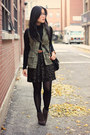 Dark-brown-luxury-rebel-boots-army-green-h-m-skirt-black-old-navy-top