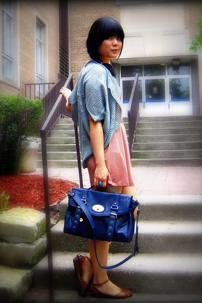 blue satchel Forever 21 bag - brown woven Century 21 shoes