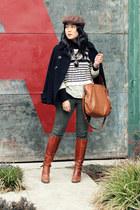 brown Aldo boots - black double-breasted Zara coat